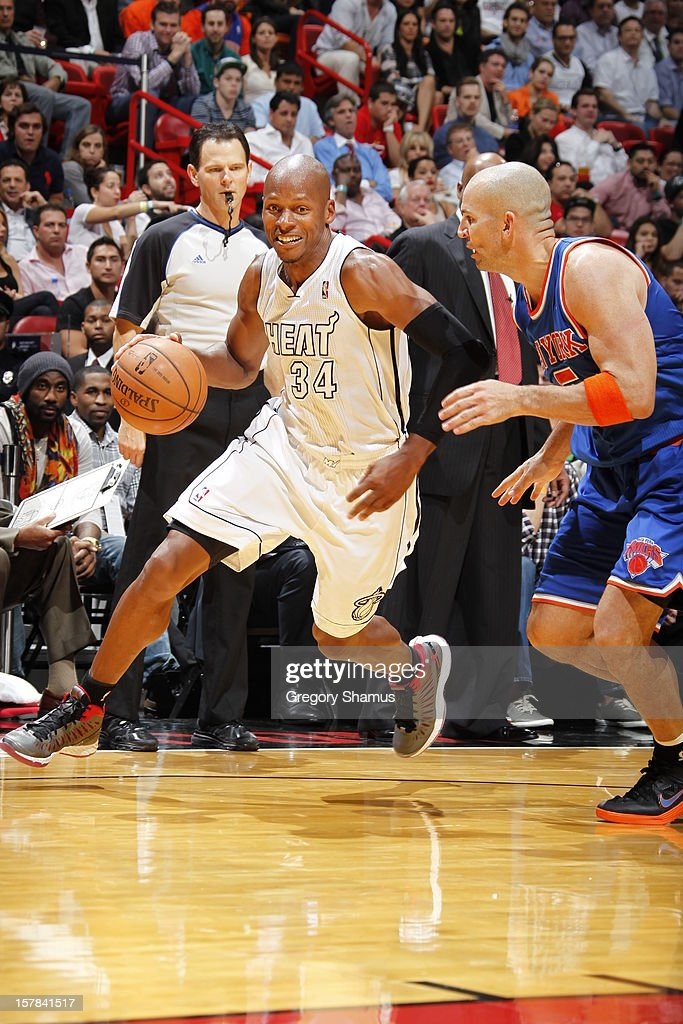 <a gi-track='captionPersonalityLinkClicked' href=/galleries/search?phrase=Ray+Allen&family=editorial&specificpeople=201511 ng-click='$event.stopPropagation()'>Ray Allen</a> #34 of the Miami Heat brings the ball to the basket against <a gi-track='captionPersonalityLinkClicked' href=/galleries/search?phrase=Jason+Kidd&family=editorial&specificpeople=201560 ng-click='$event.stopPropagation()'>Jason Kidd</a> #5 of the New York Knicks during a game on December 6, 2012 at American Airlines Arena in Miami, Florida.