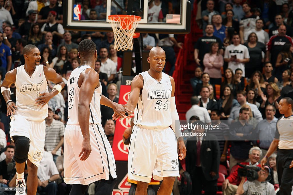 <a gi-track='captionPersonalityLinkClicked' href=/galleries/search?phrase=Ray+Allen&family=editorial&specificpeople=201511 ng-click='$event.stopPropagation()'>Ray Allen</a> #34 of the Miami Heat celebrates with <a gi-track='captionPersonalityLinkClicked' href=/galleries/search?phrase=Dwyane+Wade&family=editorial&specificpeople=201481 ng-click='$event.stopPropagation()'>Dwyane Wade</a> #3 of the Miami Heat after taking the lead against the Cleveland Cavaliers on November 24, 2012 at American Airlines Arena in Miami, Florida.