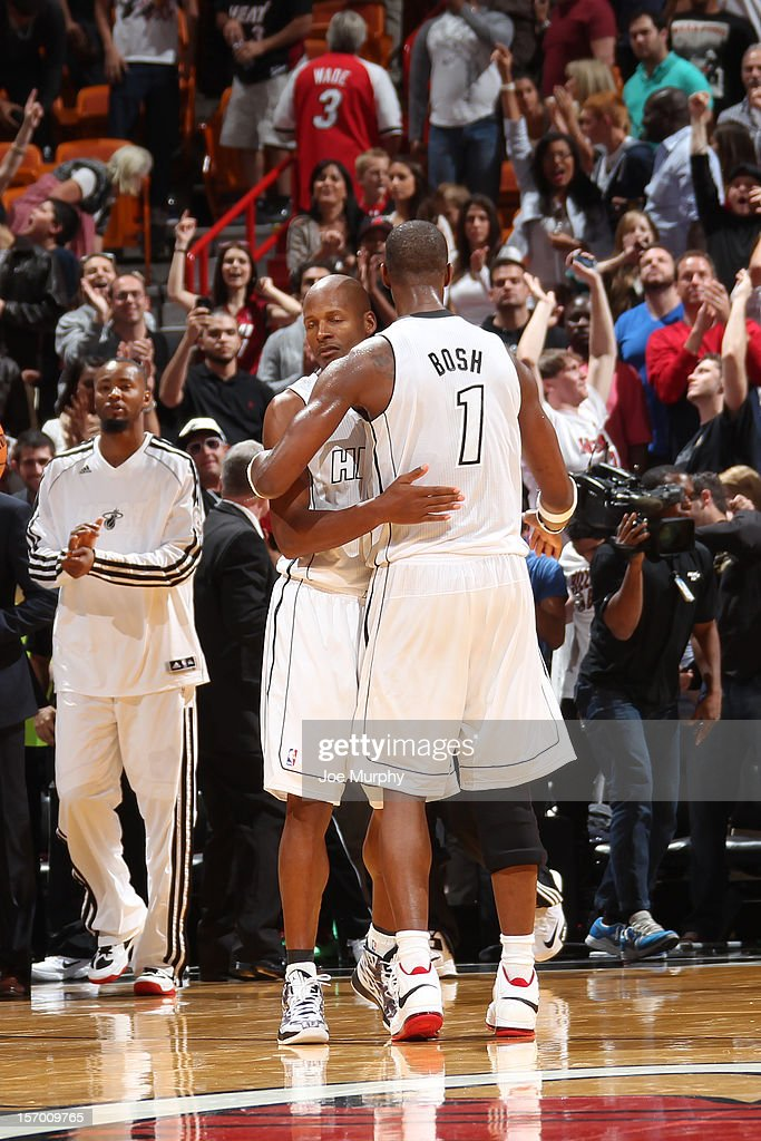 Ray Allen #34 of the Miami Heat celebrates with teammate Chris Bosh #1 after the Heat defeat the Cleveland Cavaliers on November 24, 2012 at American Airlines Arena in Miami, Florida.