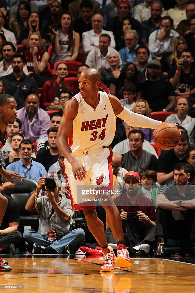 <a gi-track='captionPersonalityLinkClicked' href=/galleries/search?phrase=Ray+Allen&family=editorial&specificpeople=201511 ng-click='$event.stopPropagation()'>Ray Allen</a> #34 of the Miami Heat controls the ball against the Toronto Raptors on January 23, 2013 at American Airlines Arena in Miami, Florida.