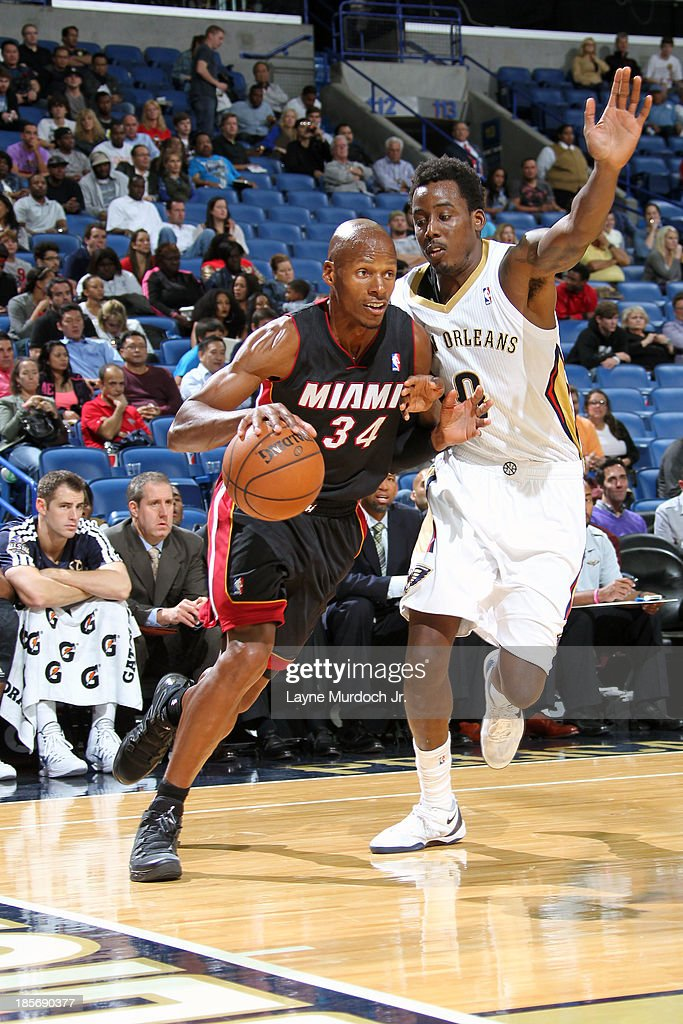 <a gi-track='captionPersonalityLinkClicked' href=/galleries/search?phrase=Ray+Allen&family=editorial&specificpeople=201511 ng-click='$event.stopPropagation()'>Ray Allen</a> #34 of the Miami Heat dribbles baseline for the layup against the New Orleans Pelicans during an NBA preseason game on October 23,2013 at the New Orleans Arena in New Orleans, Louisiana.