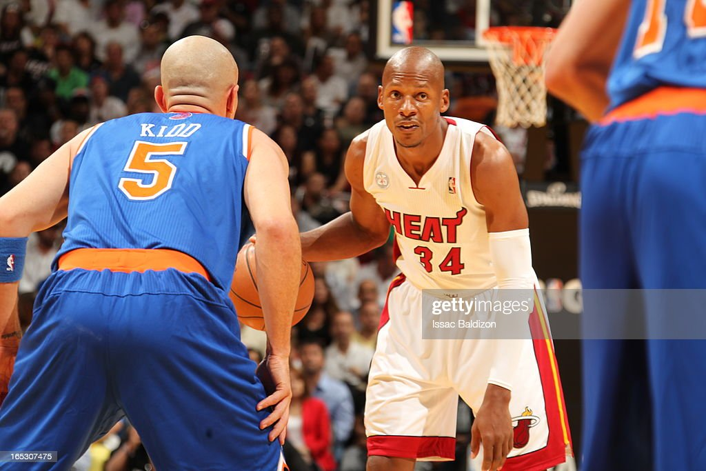 Ray Allen #34 of the Miami Heat dribbles the ball against Jason Kidd #5 of the New York Knicks during a game on April 2, 2013 at American Airlines Arena in Miami, Florida.
