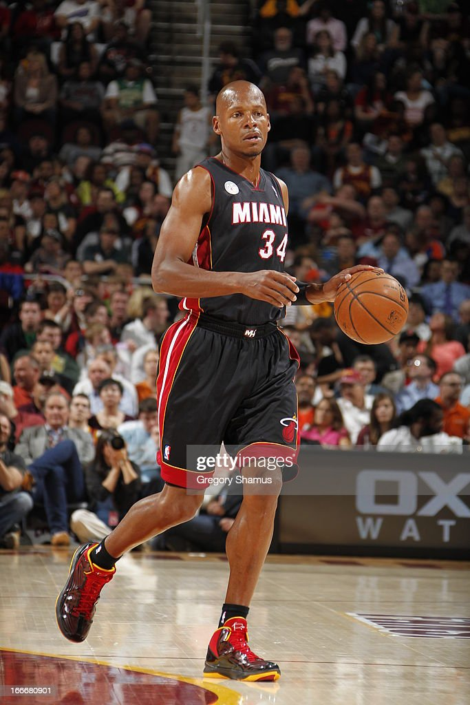 Ray Allen #34 of the Miami Heat dribbles the ball against the Cleveland Cavaliers at The Quicken Loans Arena on April 15, 2013 in Cleveland, Ohio.