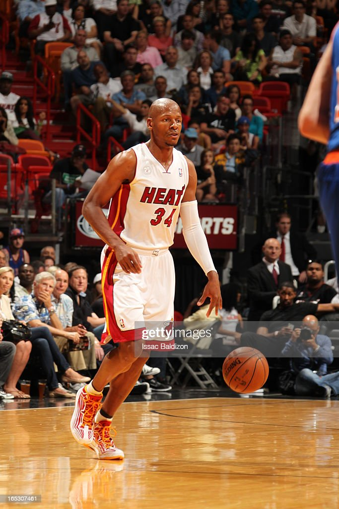 Ray Allen #34 of the Miami Heat dribbles the ball against the New York Knicks during a game on April 2, 2013 at American Airlines Arena in Miami, Florida.