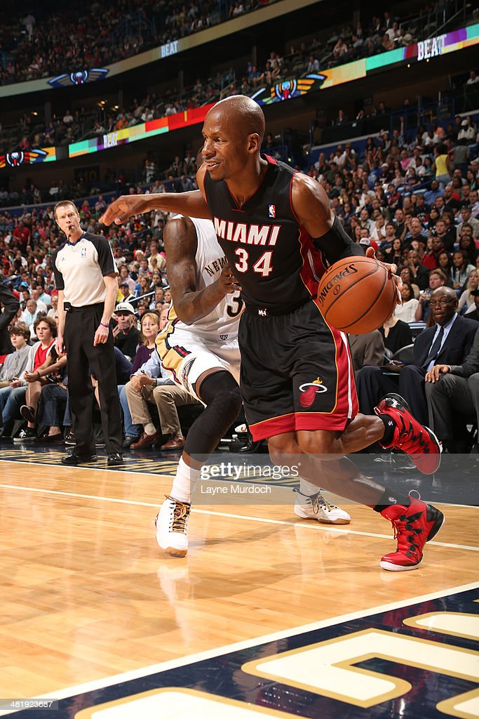 Ray Allen #34 of the Miami Heat drives against the New Orleans Pelicans on March 22, 2014 at the Smoothie King Center in New Orleans, Louisiana.