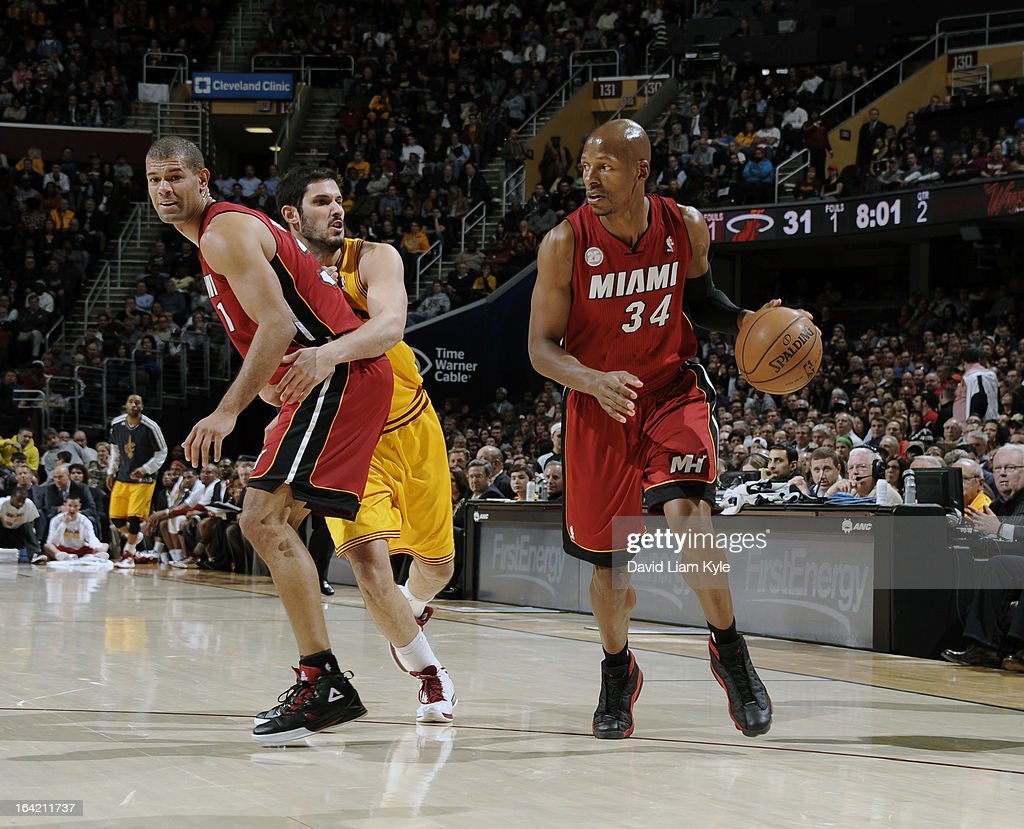 Ray Allen #34 of the Miami Heat drives around a pick of Omri Casspi #36 of the Cleveland Cavaliers by teammate Shane Battier #31 at The Quicken Loans Arena on March 20, 2013 in Cleveland, Ohio.