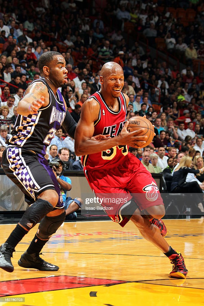 Ray Allen #34 of the Miami Heat drives to the basket against Marcus Thornton #23 of the Sacramento Kings on February 26, 2013 at American Airlines Arena in Miami, Florida.