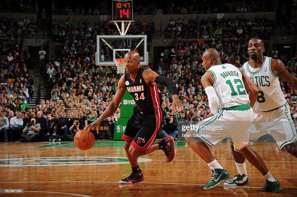 Ray Allen #34 of the Miami Heat drives to the basket against the Boston Celtics on January 27, 2013 at the TD Garden in Boston, Massachusetts.