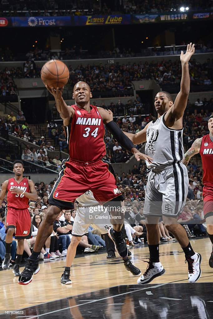 <a gi-track='captionPersonalityLinkClicked' href=/galleries/search?phrase=Ray+Allen&family=editorial&specificpeople=201511 ng-click='$event.stopPropagation()'>Ray Allen</a> #34 of the Miami Heat drives to the basket against the San Antonio Spurs on March 31, 2013 at the AT&T Center in San Antonio, Texas.