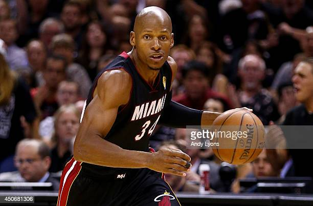 Ray Allen of the Miami Heat drives to the basket against the San Antonio Spurs during Game Five of the 2014 NBA Finals at the ATT Center on June 15...