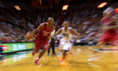 Ray Allen of the Miami Heat drives to the basket during a game against the Charlotte Bobcats at American Airlines Arena on December 1 2013 in Miami...