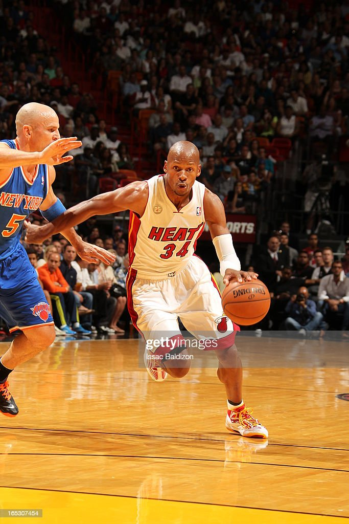 Ray Allen #34 of the Miami Heat drives to the hoop against the New York Knicks during a game on April 2, 2013 at American Airlines Arena in Miami, Florida.