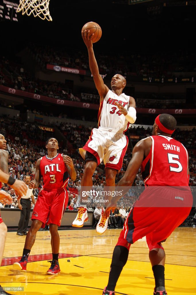 Ray Allen #34 of the Miami Heat during a game between the Atlanta Hawks and the Miami Heat on December 10, 2012 at American Airlines Arena in Miami, Florida.