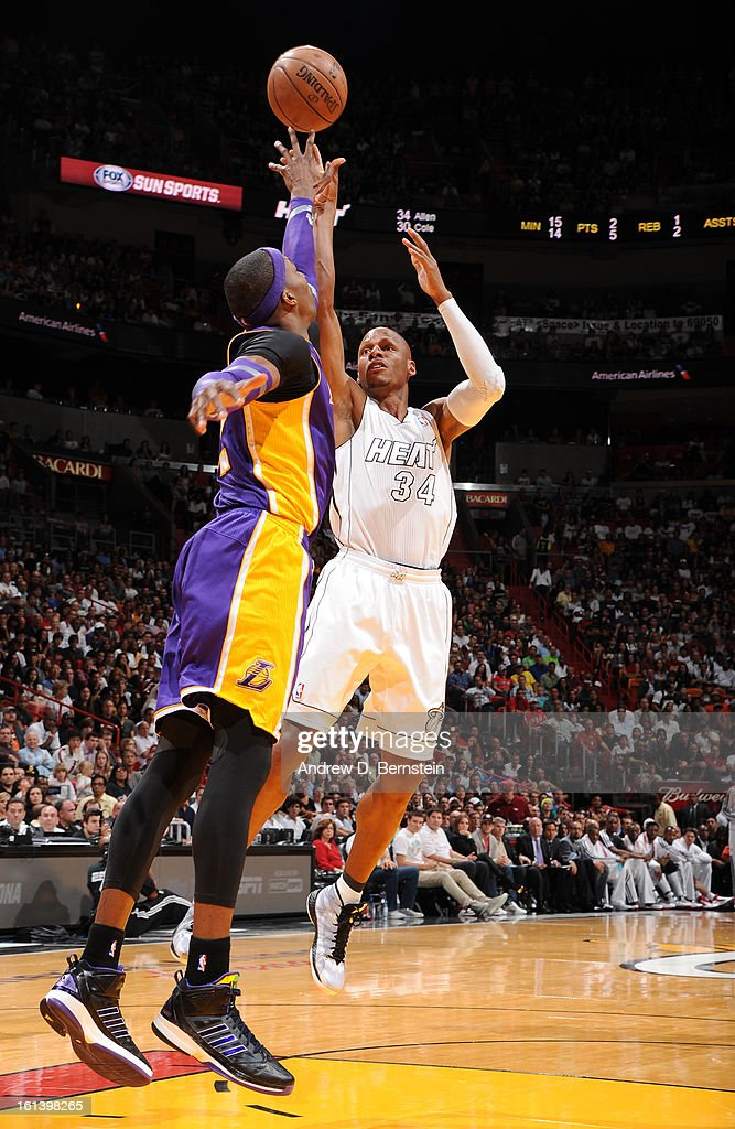 Ray Allen #34 of the Miami Heat goes for a jump shot during a game between the Los Angeles Lakers and the Miami Heat on February 10, 2013 at American Airlines Arena in Miami, Florida.