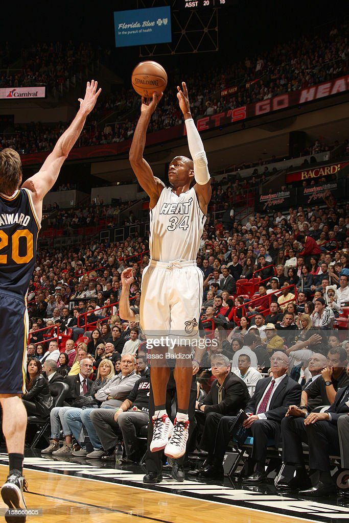 <a gi-track='captionPersonalityLinkClicked' href=/galleries/search?phrase=Ray+Allen&family=editorial&specificpeople=201511 ng-click='$event.stopPropagation()'>Ray Allen</a> #34 of the Miami Heat goes for a jump shot during the game between the Utah Jazz and the Miami Heat on December 22, 2012 at American Airlines Arena in Miami, Florida.