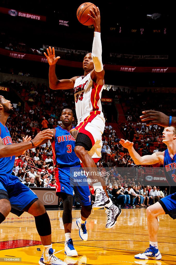 <a gi-track='captionPersonalityLinkClicked' href=/galleries/search?phrase=Ray+Allen&family=editorial&specificpeople=201511 ng-click='$event.stopPropagation()'>Ray Allen</a> #34 of the Miami Heat goes to the basket against the Detroit Pistons during a pre-season game on October 18, 2012 at American Airlines Arena in Miami, Florida.
