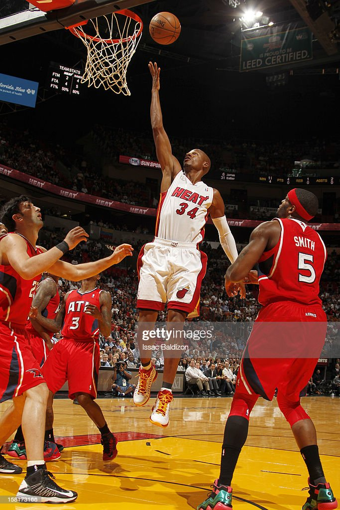 Ray Allen #34 of the Miami Heat goes to the basket during a game between the Atlanta Hawks and the Miami Heat on December 10, 2012 at American Airlines Arena in Miami, Florida.