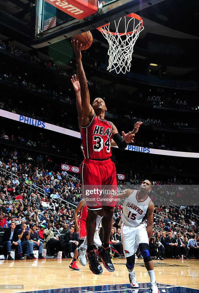 <a gi-track='captionPersonalityLinkClicked' href=/galleries/search?phrase=Ray+Allen&family=editorial&specificpeople=201511 ng-click='$event.stopPropagation()'>Ray Allen</a> #34 of the Miami Heat goes up for the easy layup against the Atlanta Hawks on February 20, 2013 at Philips Arena in Atlanta, Georgia.
