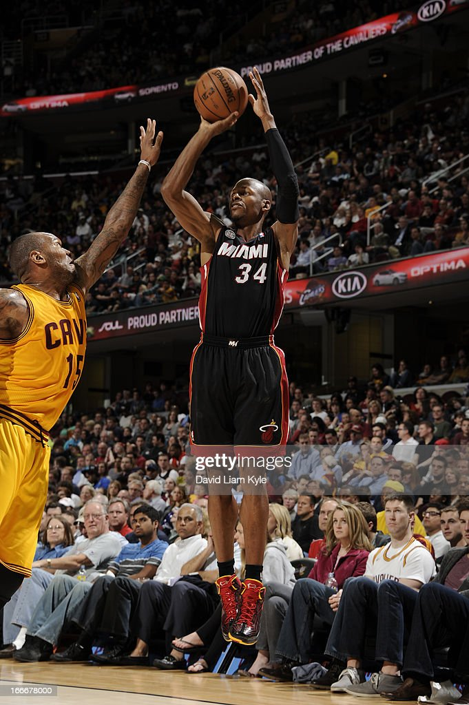 Ray Allen #34 of the Miami Heat goes up for the shot against Marreese Speights #15 of the Cleveland Cavaliers at The Quicken Loans Arena on April 15, 2013 in Cleveland, Ohio.