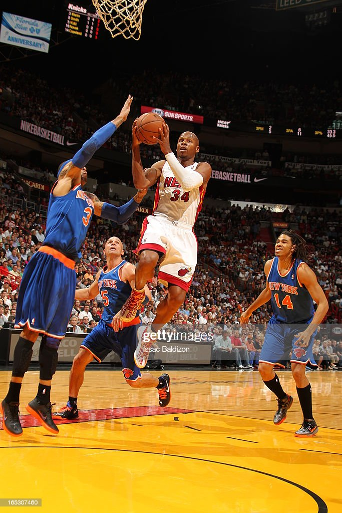Ray Allen #34 of the Miami Heat goes up for the shot against the New York Knicks during a game on April 2, 2013 at American Airlines Arena in Miami, Florida.