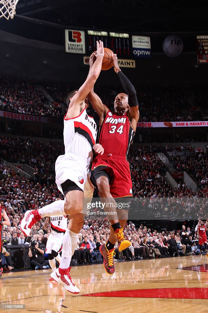 Ray Allen #34 of the Miami Heat goes up strong in traffic against the Portland Trail Blazers on January 10, 2013 at the Rose Garden Arena in Portland, Oregon.
