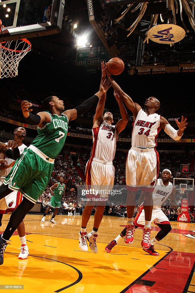 Ray Allen #34 of the Miami Heat grabs a rebound against the Boston Celtics on November 9, 2013 at American Airlines Arena in Miami, Florida.