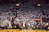 Ray Allen of the Miami Heat hits a threepoint shot to tie the score and send the San Antonio Spurs into overtime in Game Six of the 2013 NBA Finals...