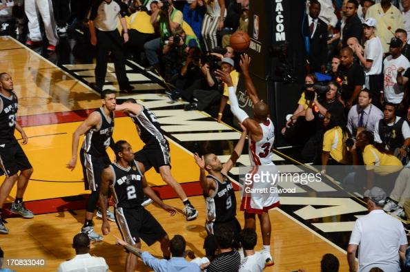 Ray Allen of the Miami Heat hits the game tying three pointer against Tony Parker of the San Antonio Spurs during Game Six of the 2013 NBA Finals on...