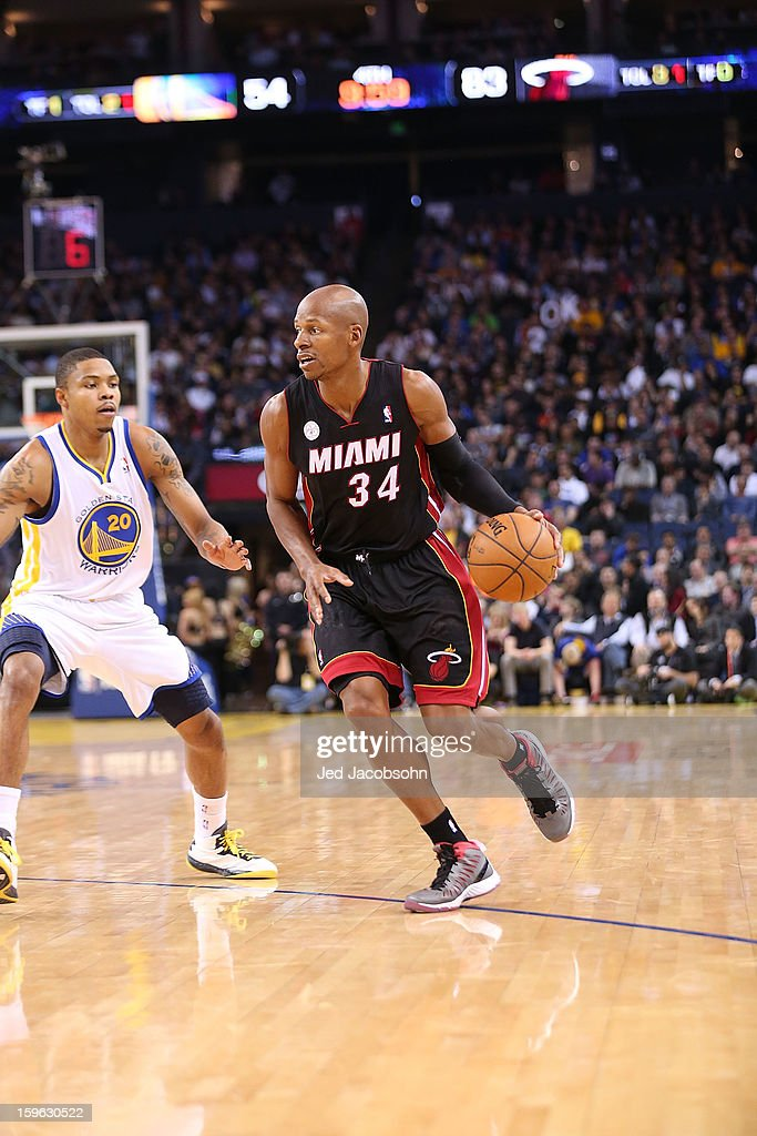 Ray Allen #34 of the Miami Heat in action against the Golden State Warriors on January 16, 2013 at Oracle Arena in Oakland, California.