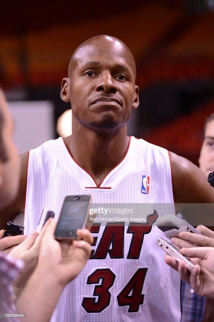 <a gi-track='captionPersonalityLinkClicked' href=/galleries/search?phrase=Ray+Allen&family=editorial&specificpeople=201511 ng-click='$event.stopPropagation()'>Ray Allen</a> #34 of the Miami Heat is interviewed during media day at the American Airlines Arena on September 28, 2012 in Miami, Florida.