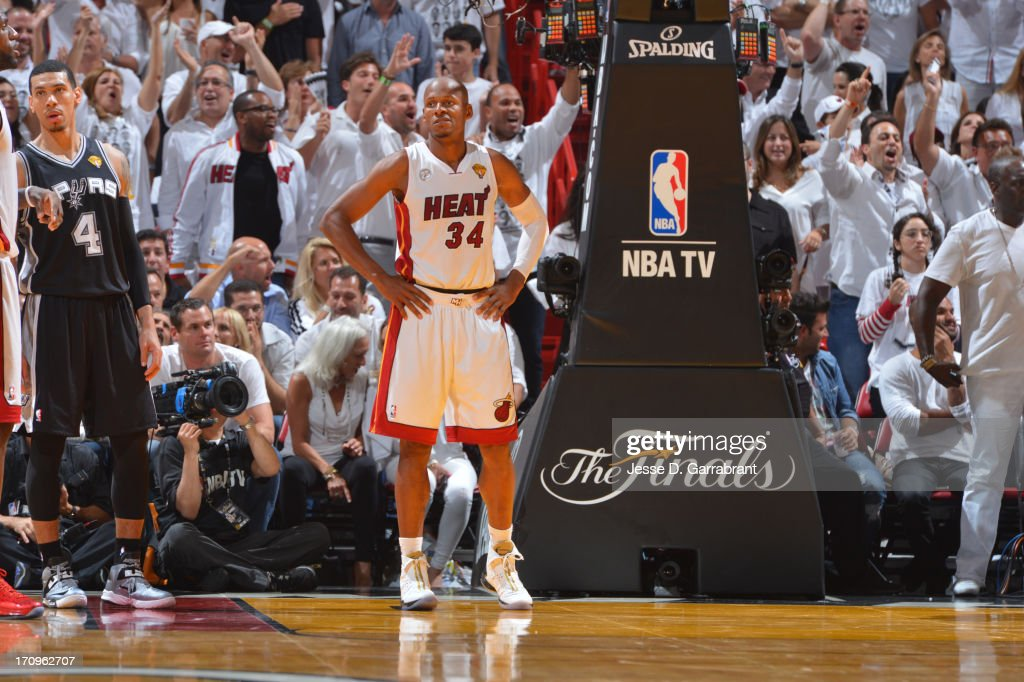 Ray Allen #34 of the Miami Heat looks on against the San Antonio Spurs during Game Seven of the 2013 NBA Finals on June 20, 2013 at American Airlines Arena in Miami, Florida.