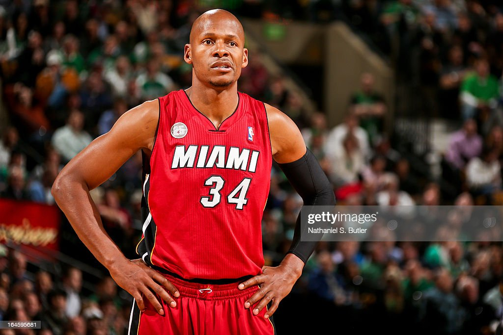 Ray Allen #34 of the Miami Heat looks on during a game against the Boston Celtics on March 18, 2013 at TD Garden in Boston, Massachusetts.