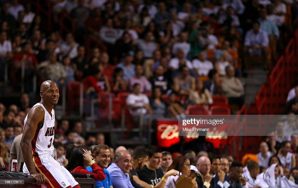 Ray Allen #34 of the Miami Heat looks on during a game against the Atlanta Hawks at American Airlines Arena on December 10, 2012 in Miami, Florida.