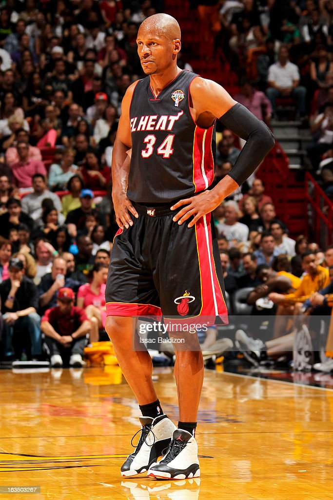<a gi-track='captionPersonalityLinkClicked' href=/galleries/search?phrase=Ray+Allen&family=editorial&specificpeople=201511 ng-click='$event.stopPropagation()'>Ray Allen</a> #34 of the Miami Heat looks on during a game against the Indiana Pacers on March 10, 2013 at American Airlines Arena in Miami, Florida.