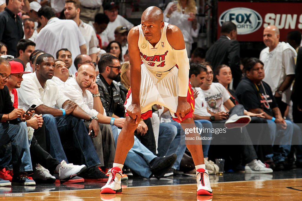Ray Allen #34 of the Miami Heat looks on while playing against the Indiana Pacers in Game One of the Eastern Conference Finals during the 2013 NBA Playoffs on May 22, 2013 at American Airlines Arena in Miami, Florida.