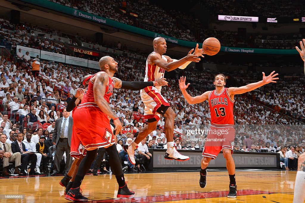 <a gi-track='captionPersonalityLinkClicked' href=/galleries/search?phrase=Ray+Allen&family=editorial&specificpeople=201511 ng-click='$event.stopPropagation()'>Ray Allen</a> #34 of the Miami Heat makes a pass against the Chicago Bulls in Game Five of the Eastern Conference Semifinals during the 2013 NBA Playoffs on May 15, 2013 at American Airlines Arena in Miami, Florida.