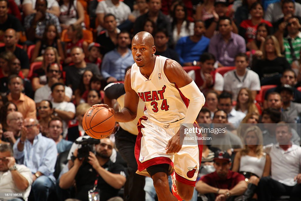 Ray Allen #34 of the Miami Heat moves the ball up-court against the Boston Celtics on November 9, 2013 at American Airlines Arena in Miami, Florida.