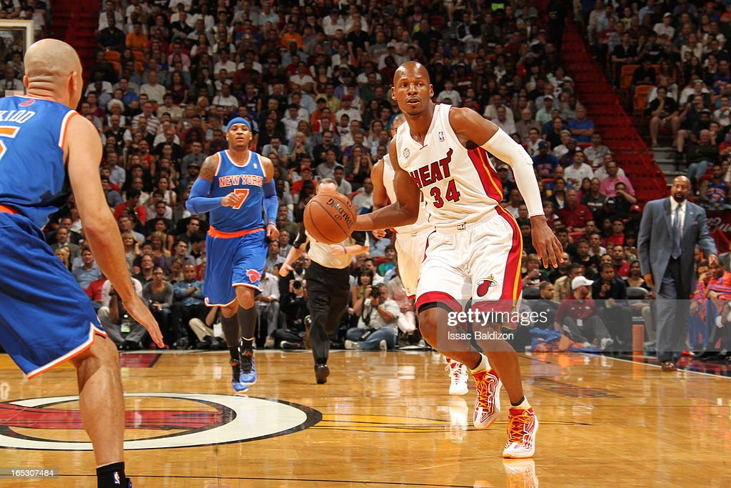 Ray Allen #34 of the Miami Heat passes the ball against the New York Knicks during a game on April 2, 2013 at American Airlines Arena in Miami, Florida.