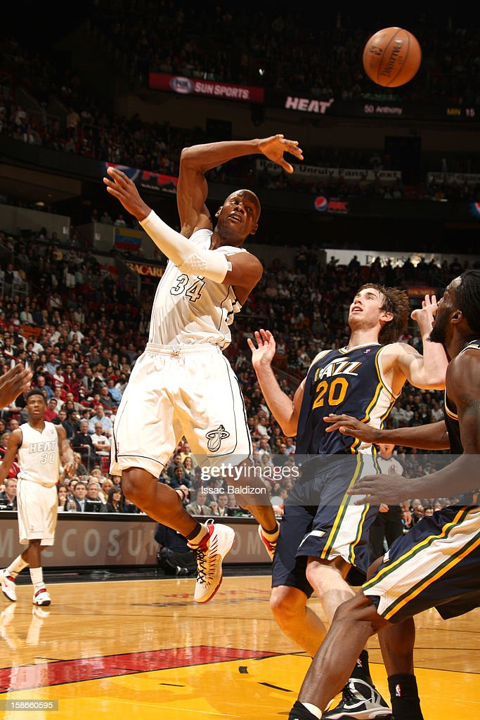 <a gi-track='captionPersonalityLinkClicked' href=/galleries/search?phrase=Ray+Allen&family=editorial&specificpeople=201511 ng-click='$event.stopPropagation()'>Ray Allen</a> #34 of the Miami Heat passes the ball during the game between the Utah Jazz and the Miami Heat on December 22, 2012 at American Airlines Arena in Miami, Florida.