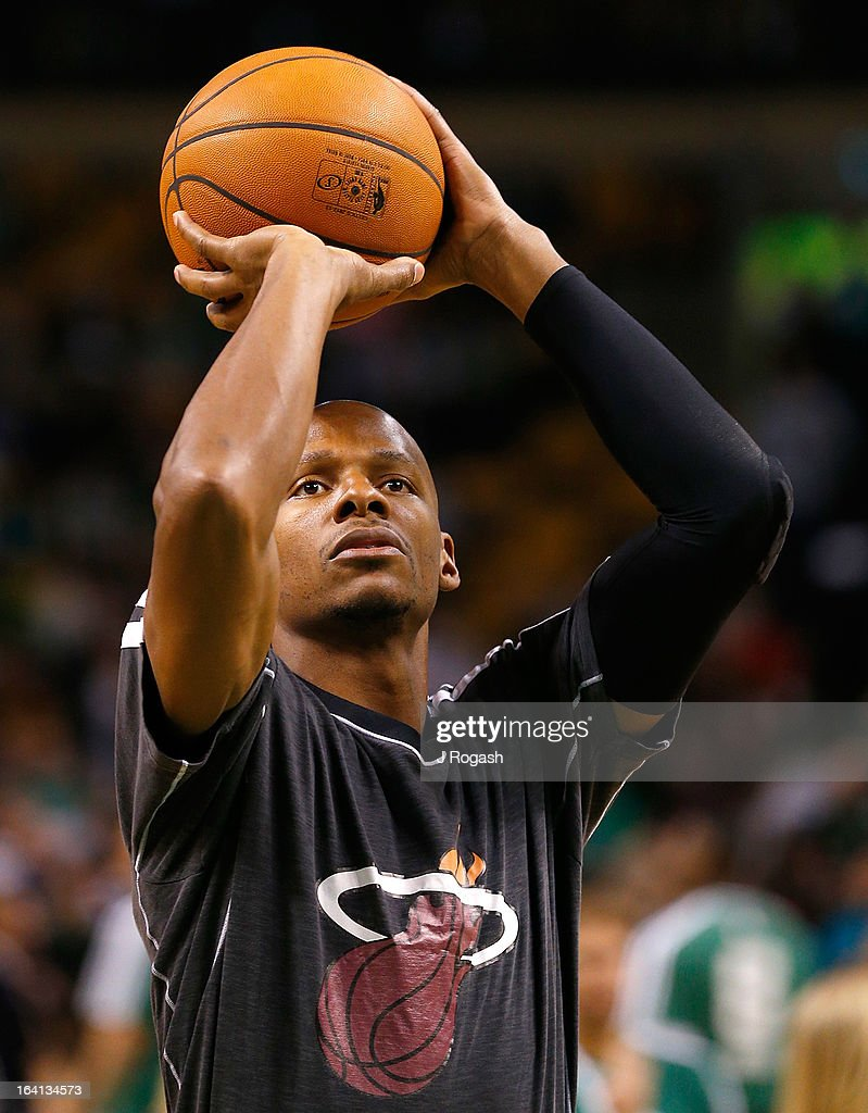 Ray Allen #34 of the Miami Heat practices before a game against the Boston Celtics on March 18, 2013 at theTD Garden in Boston, Massachusetts.