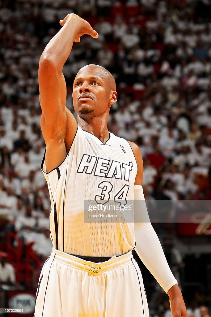 <a gi-track='captionPersonalityLinkClicked' href=/galleries/search?phrase=Ray+Allen&family=editorial&specificpeople=201511 ng-click='$event.stopPropagation()'>Ray Allen</a> #34 of the Miami Heat prepares to shoot a free-throw against the Milwaukee Bucks in Game Two of the Eastern Conference Quarterfinals during the 2013 NBA Playoffs on April 23, 2013 at American Airlines Arena in Miami, Florida.