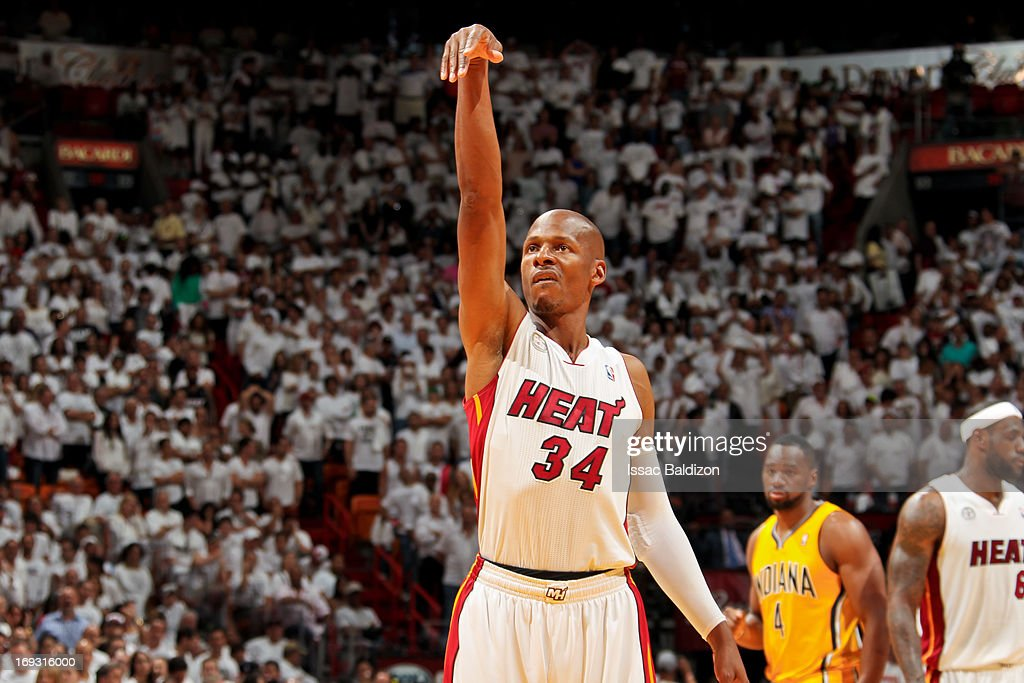 Ray Allen #34 of the Miami Heat prepares to shoot a free-throw in the fourth quarter against the Indiana Pacers in Game One of the Eastern Conference Finals during the 2013 NBA Playoffs on May 22, 2013 at American Airlines Arena in Miami, Florida.