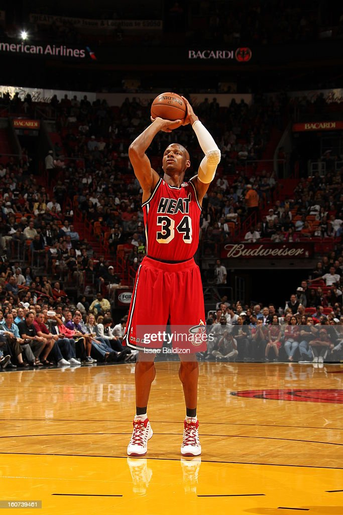 <a gi-track='captionPersonalityLinkClicked' href=/galleries/search?phrase=Ray+Allen&family=editorial&specificpeople=201511 ng-click='$event.stopPropagation()'>Ray Allen</a> #34 of the Miami Heat shoots a foul shot against the Charlotte Bobcats during a game on February 4, 2013 at American Airlines Arena in Miami, Florida.