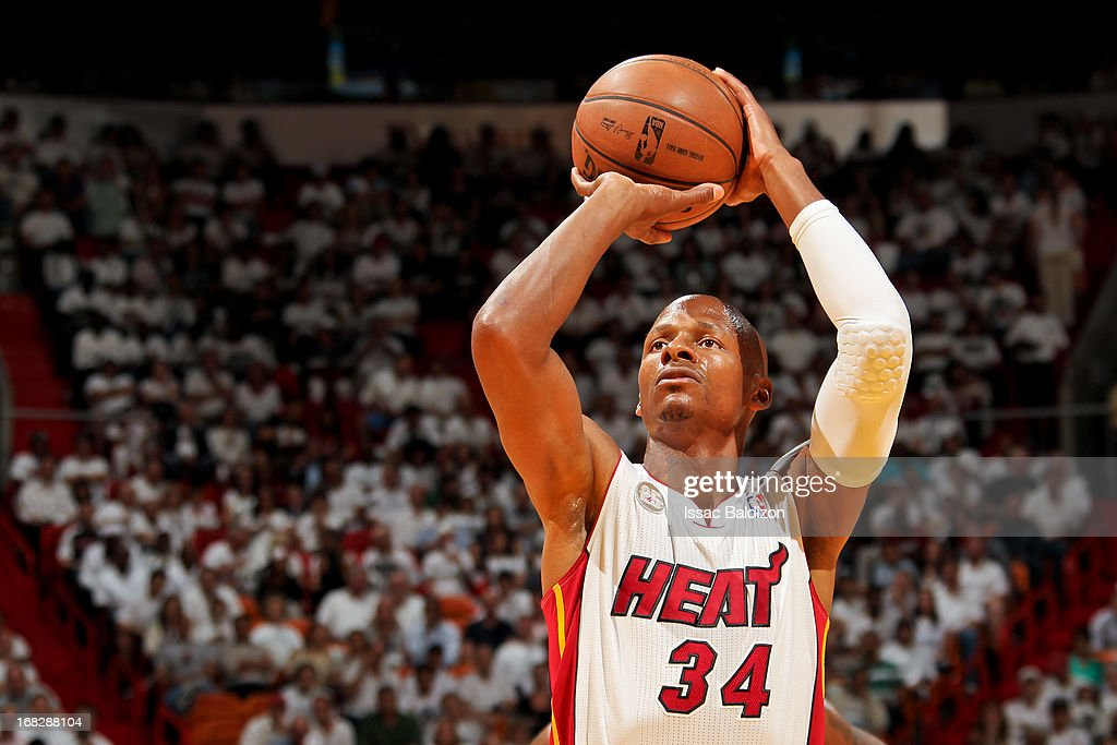 <a gi-track='captionPersonalityLinkClicked' href=/galleries/search?phrase=Ray+Allen&family=editorial&specificpeople=201511 ng-click='$event.stopPropagation()'>Ray Allen</a> #34 of the Miami Heat shoots a free-throw against the Chicago Bulls in Game One of the Eastern Conference Semifinals during the 2013 NBA Playoffs on May 6, 2013 at American Airlines Arena in Miami, Florida.