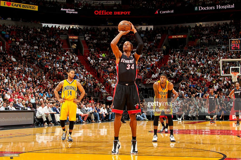 Ray Allen #34 of the Miami Heat shoots a free-throw against the Indiana Pacers on March 10, 2013 at American Airlines Arena in Miami, Florida.