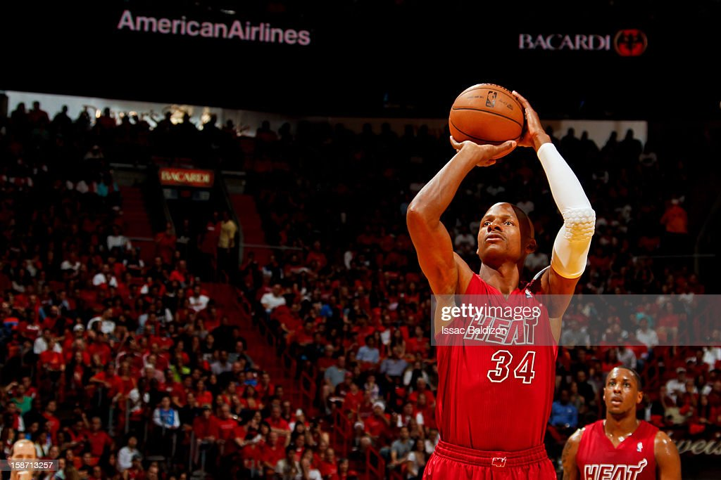 Ray Allen #34 of the Miami Heat shoots a free-throw against the Oklahoma City Thunder during a Christmas Day game on December 25, 2012 at American Airlines Arena in Miami, Florida.