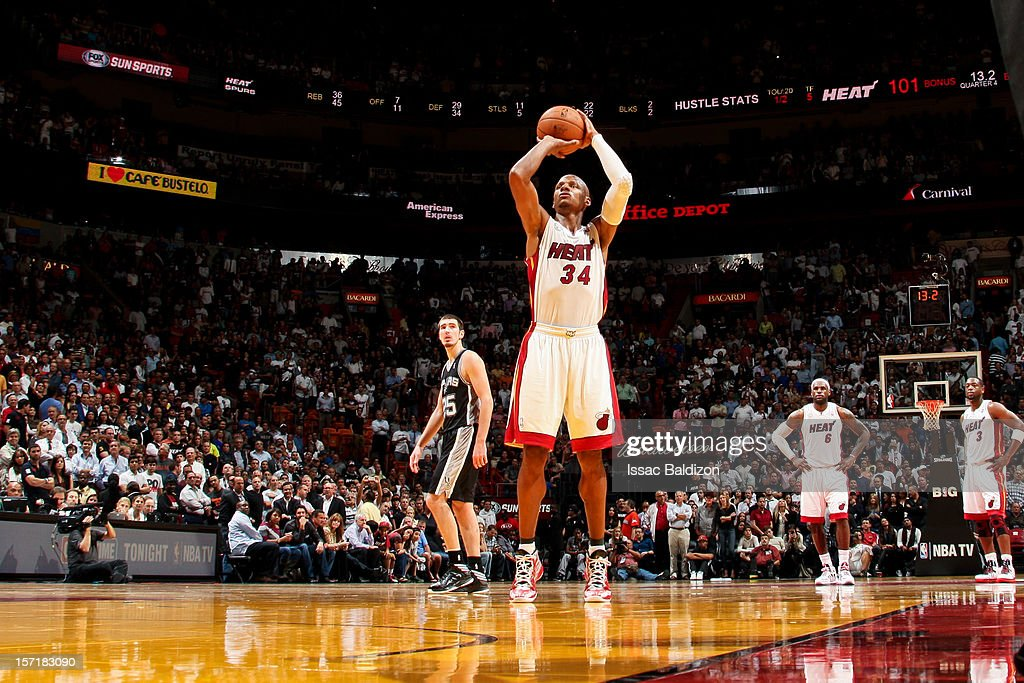 <a gi-track='captionPersonalityLinkClicked' href=/galleries/search?phrase=Ray+Allen&family=editorial&specificpeople=201511 ng-click='$event.stopPropagation()'>Ray Allen</a> #34 of the Miami Heat shoots a free-throw against the San Antonio Spurs on November 29, 2012 at American Airlines Arena in Miami, Florida.