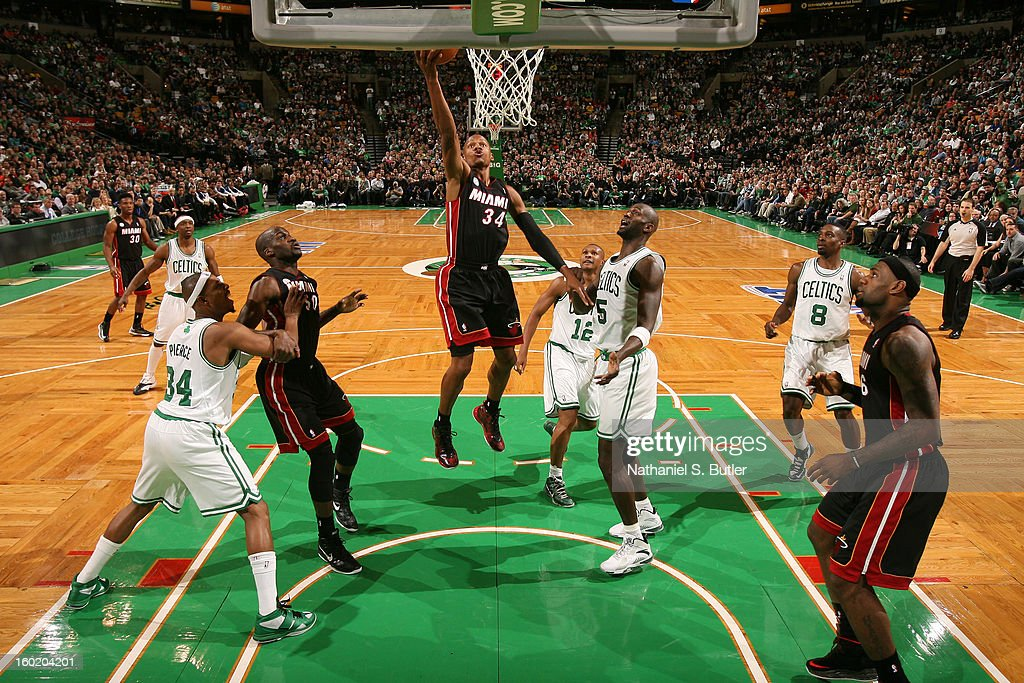 Ray Allen #34 of the Miami Heat shoots a layup against the Boston Celtics on January 27, 2013 at TD Garden in Boston, Massachusetts.