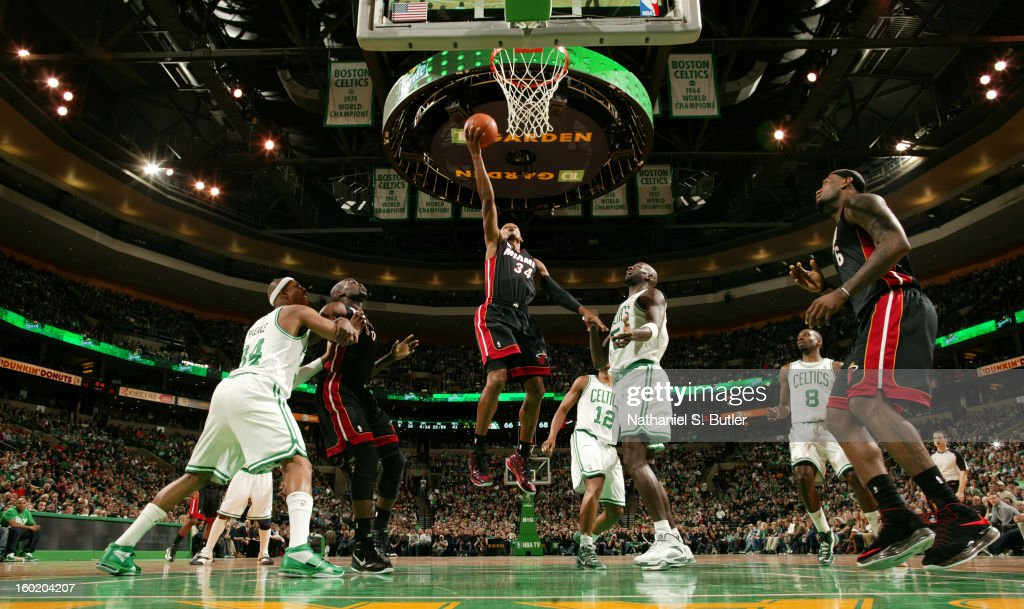 Ray Allen #34 of the Miami Heat shoots a layup against the Boston Celtics on January 27, 2013 at TD Garden in Boston, Massachusetts.