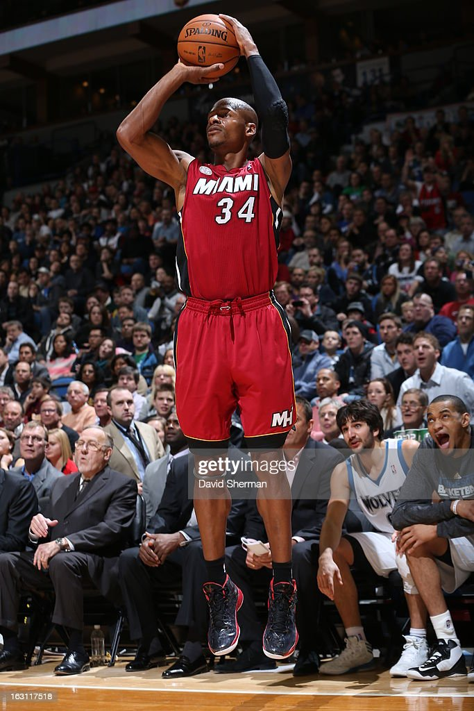 Ray Allen #34 of the Miami Heat shoots a three pointer against the Minnesota Timberwolves during the game on March 4, 2013 at Target Center in Minneapolis, Minnesota.